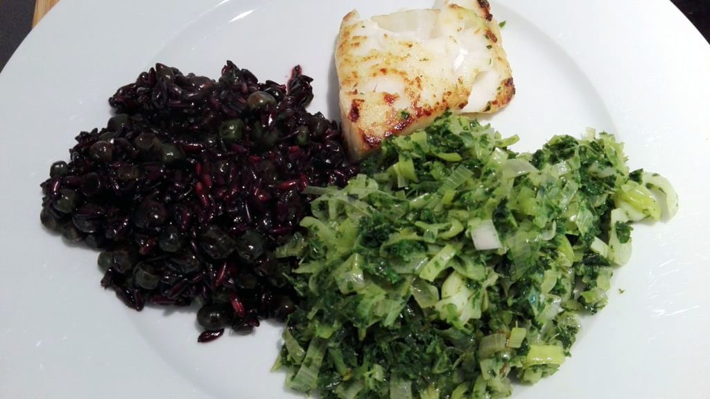 Black Rice with Green Veggies and Fish - Low Histamine