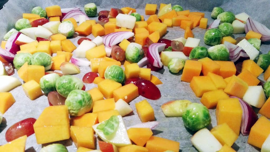 Butternut Squash, Brussels Sprouts, Red Onions, Grapes and Apple ready to go in the oven