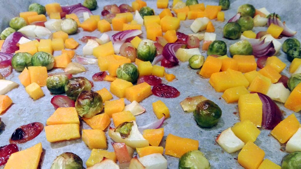Oven Roasted Butternut Squash, Brussels Sprouts, Red Onions, Grapes and Apple for Quinoa Salad with Roasted Veggies