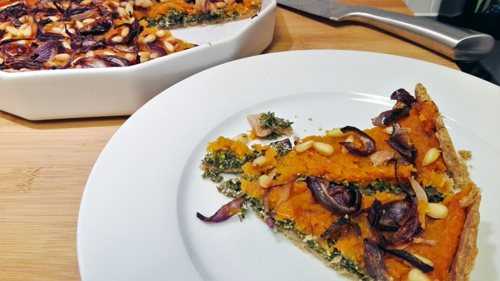 Butternut Squash Pie with Kale and Goat Cream Cheese