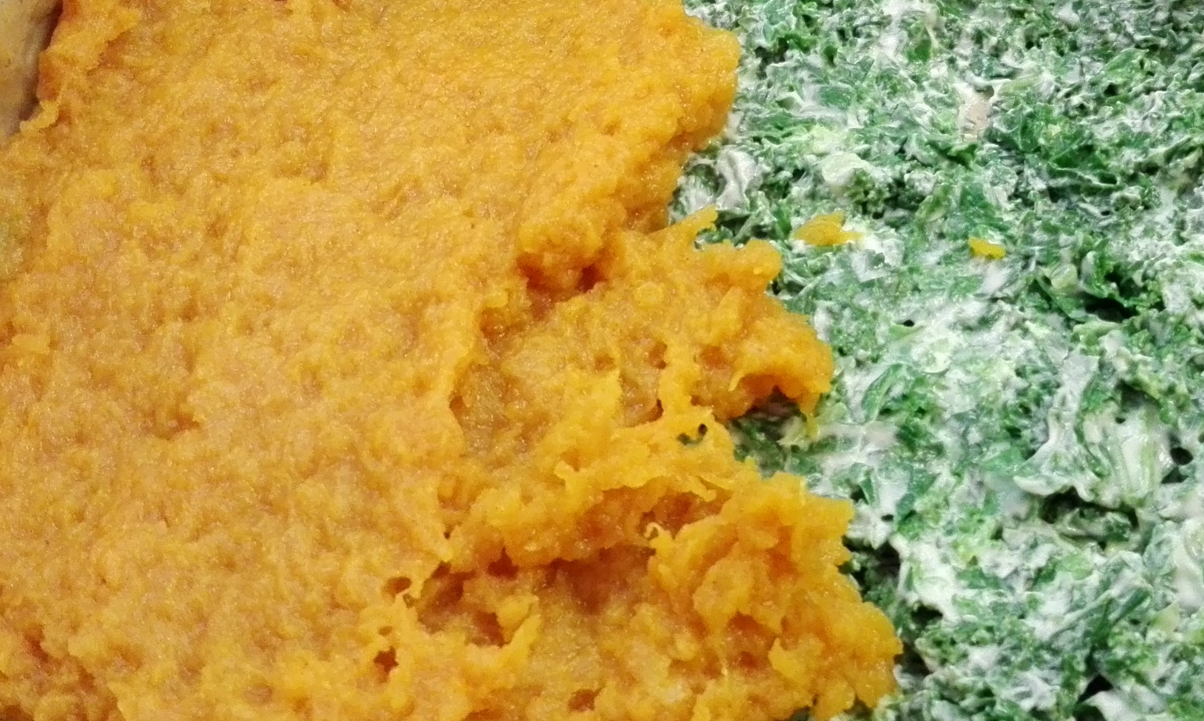 Butternut Squash Pie with Kale and Goat Cream Cheese - in the making