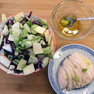 Red and Green Salad with Chicken and a classic Low Histamine Vinaigrette