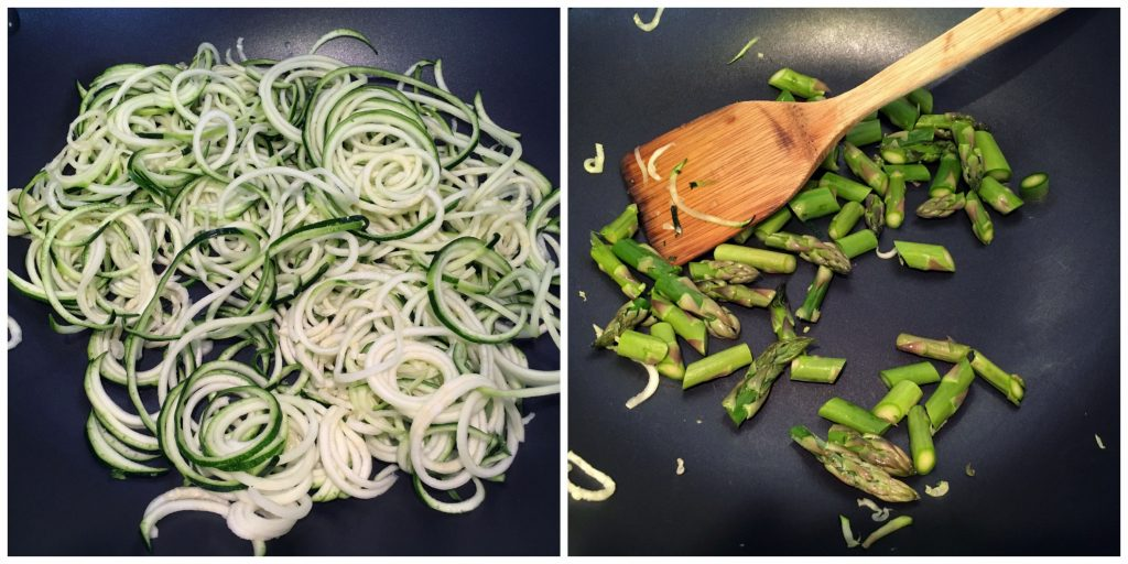 Zoodles in the making - just saute them for one minute