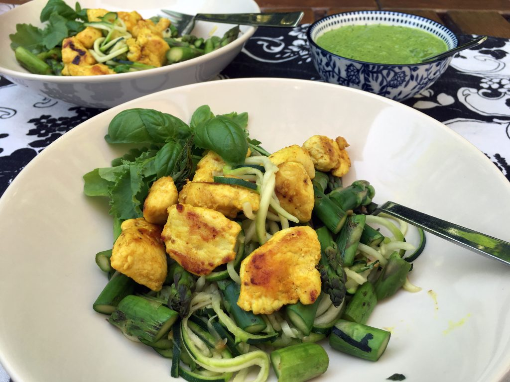 Zoodles with Low Histamine Pesto and Turmeric Chicken - The Histamine Friendly Kitchen