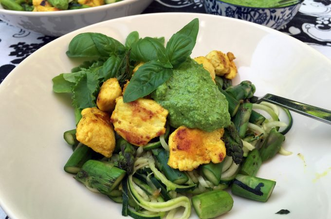 Zoodles with Low Histamine Pesto and Turmeric Chicken