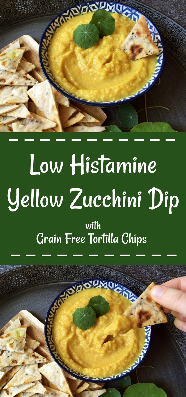Low Histamine Zucchini Dip - with Grain Free Tortilla Chips \o/ Pin ME!