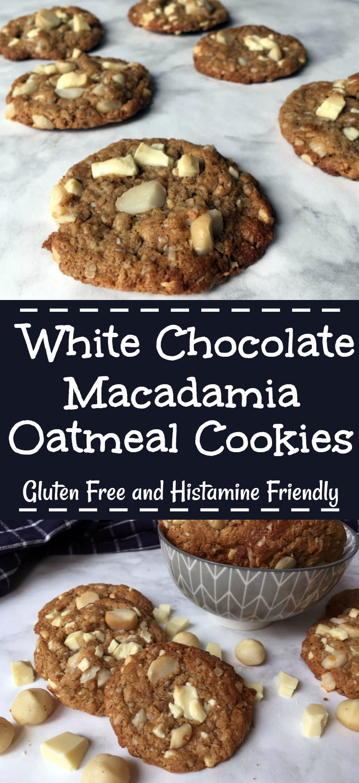 White Chocolate Macadamia Oatmeal Cookies - Pin Me!