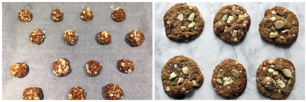 White Chocolate Macadamia Oatmeal Cookies - before and after picture!