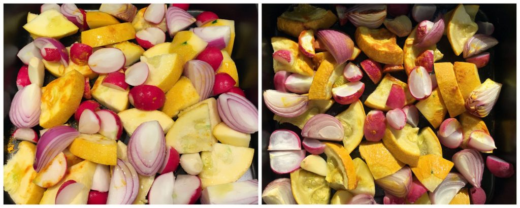 Ingredients for the Low Histamine Yellow Zucchini Dip - Prepped and roasted in the oven.