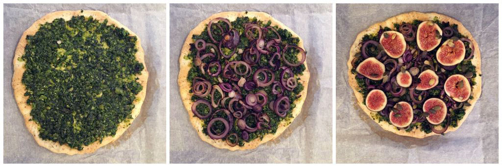 Pizza with Low Histamine Pesto and Fresh Figs - in the making