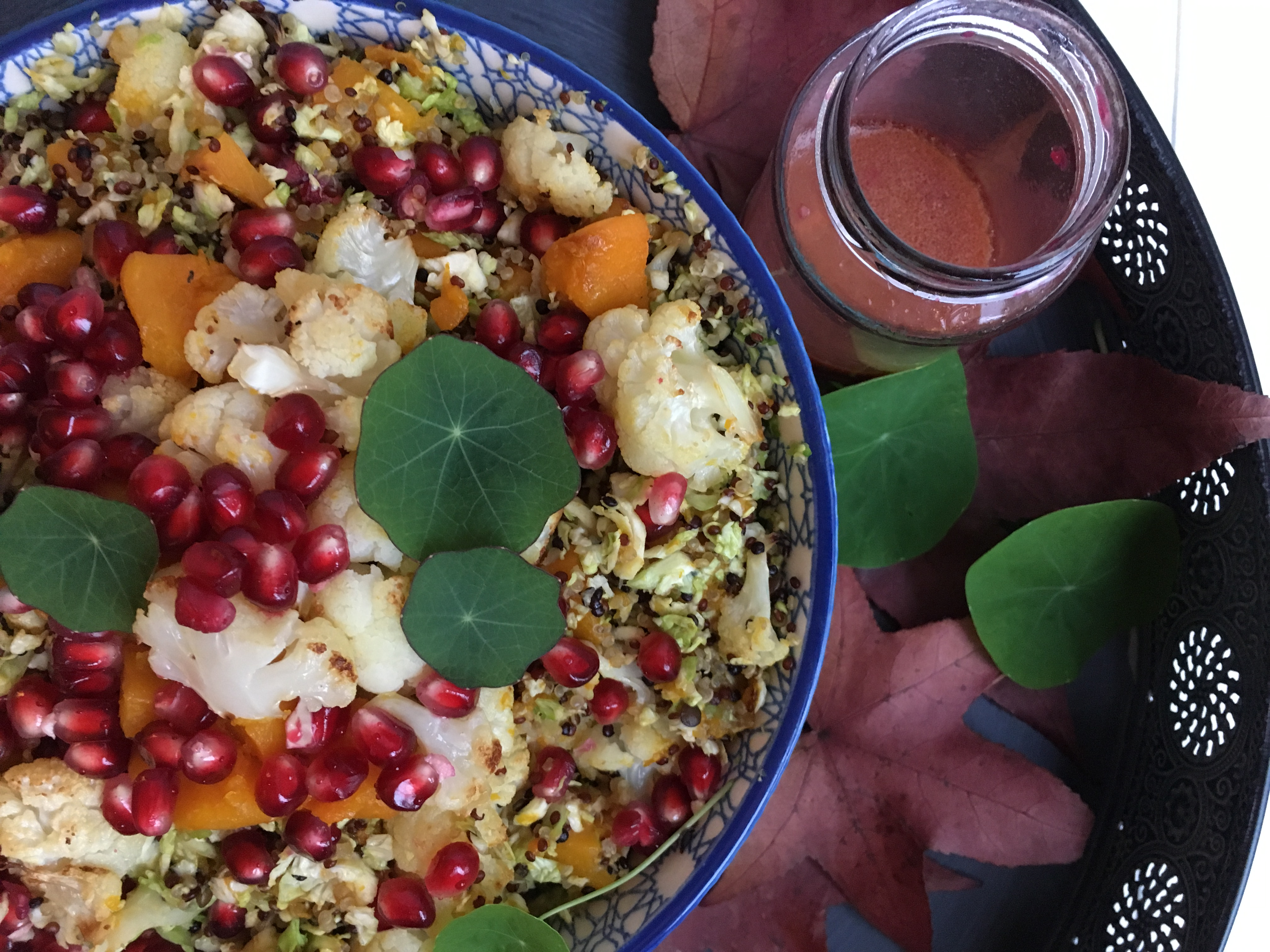 Pumpkin and Cauliflower Quinoa Salad with Pomegranate Salad Dressing - The Histamine Friendly Kitchen