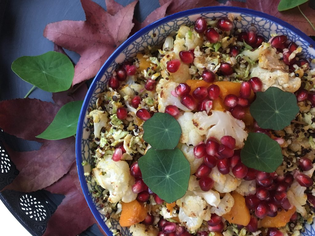 Pumpkin and Cauliflower Quinoa Salad with Pomegranate Dressing