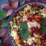 Pumpkin and Cauliflower Quinoa Salad with Pomegranate Dressing