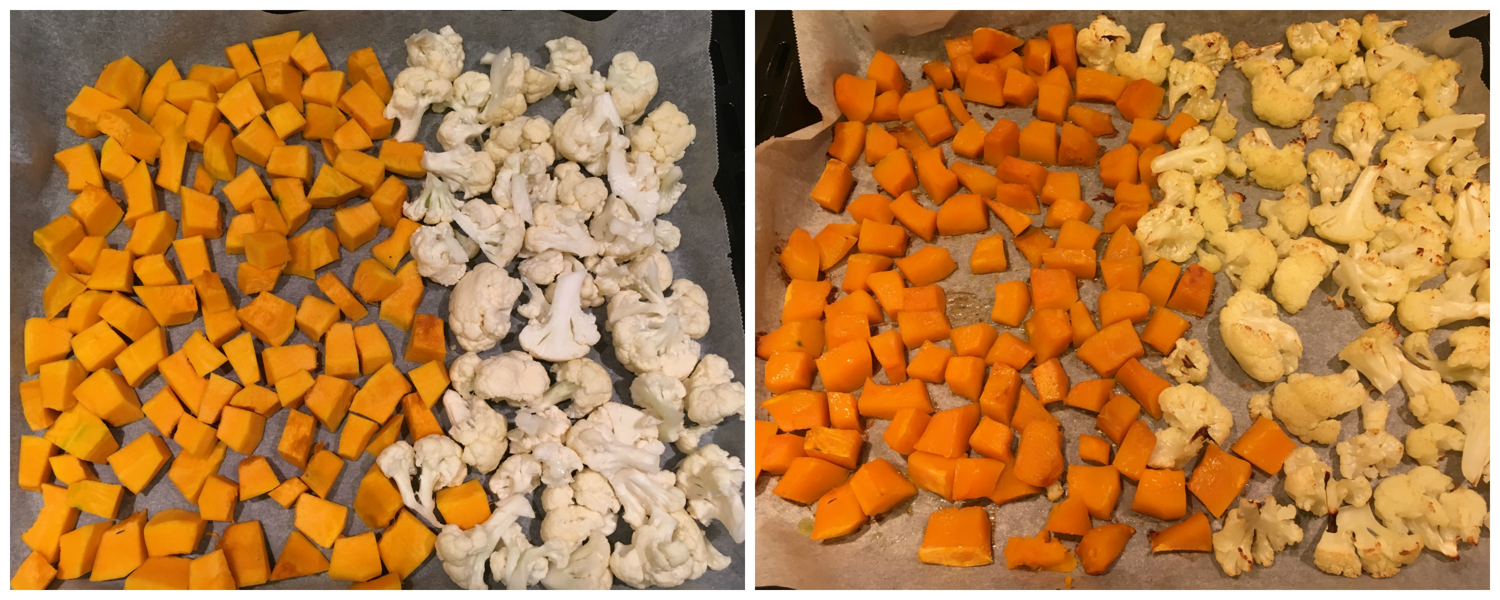 Cauliflower and Kabocha Squash prepping for the Pumpkin and Cauliflower Quinoa Salad with Pomegranate Salad Dressing - The Histamine Friendly Kitchen