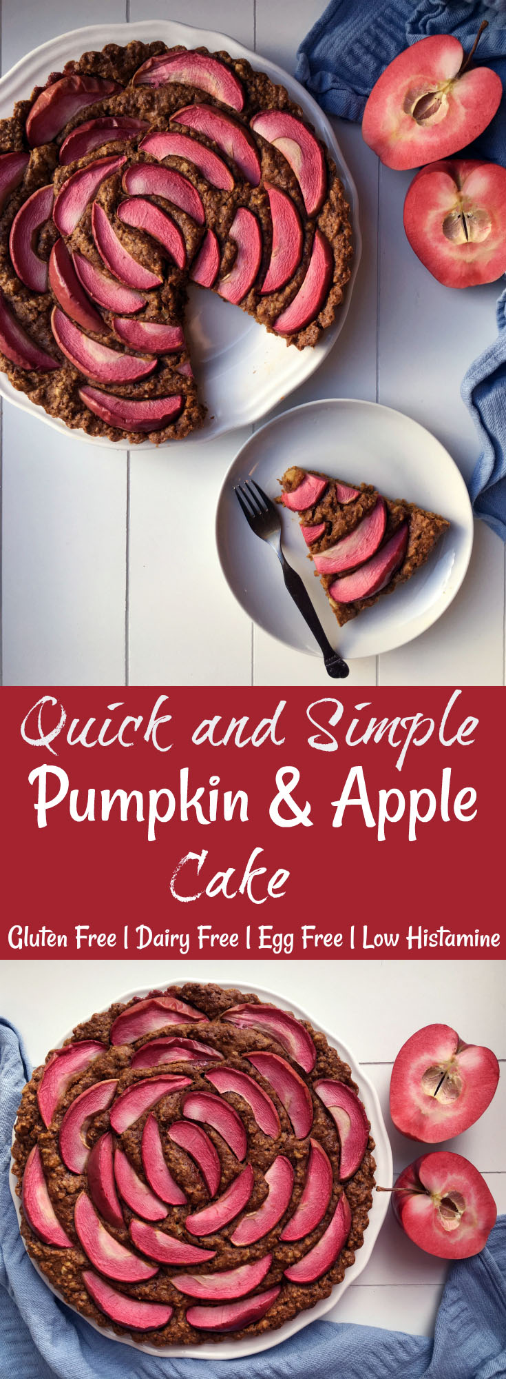 Quick and Simple Pumpkin Apple Cake - Gluten Free. With Beautiful Red Love Apples