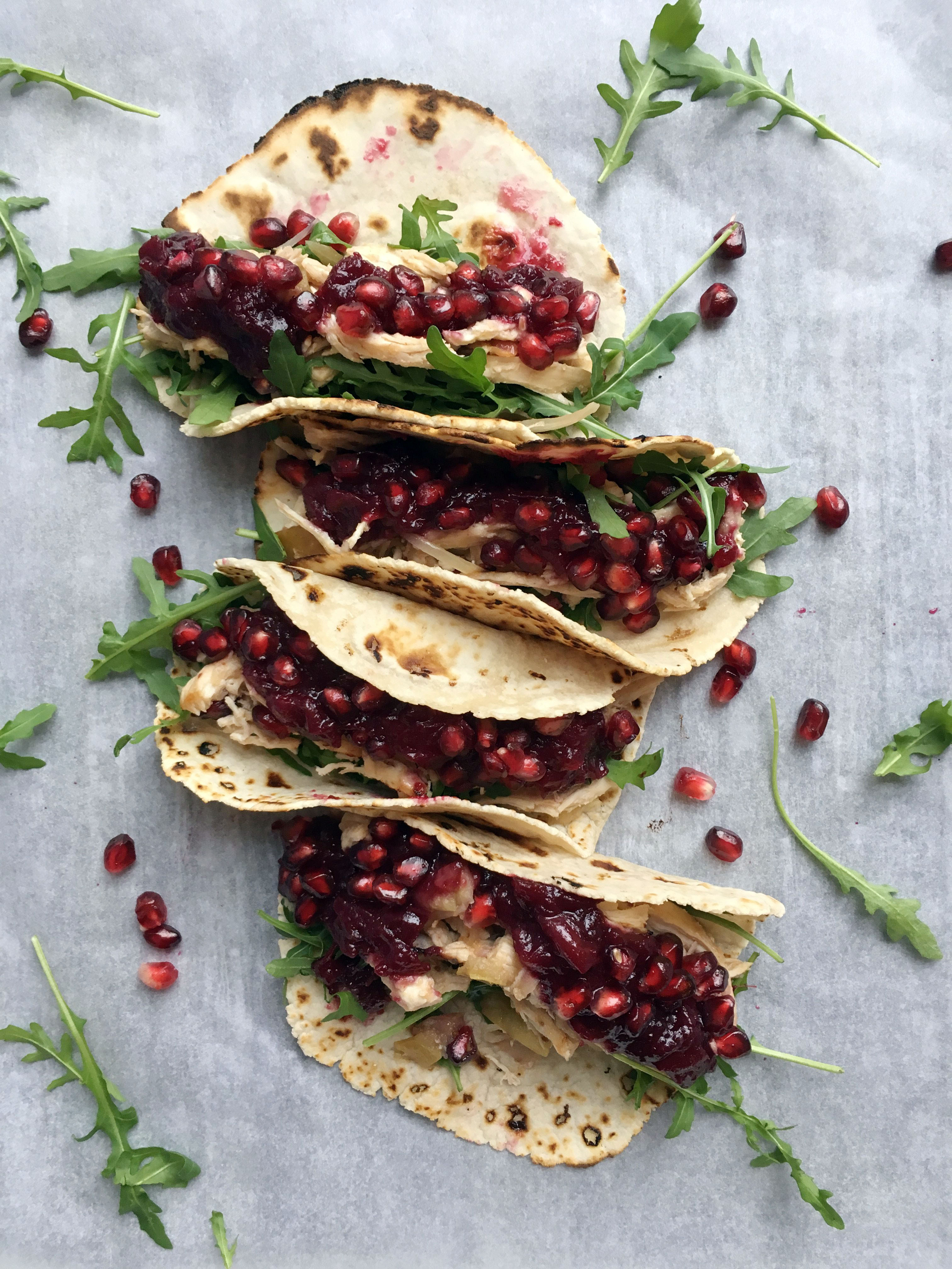 Pulled Turkey and Cranberry Sauce Tacos with Grain Free Tortillas