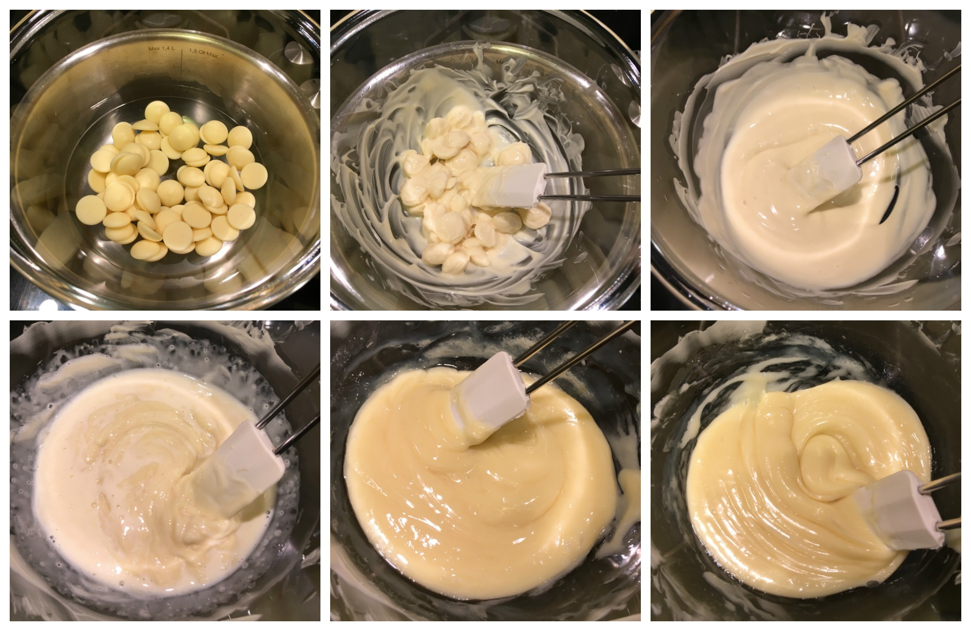 Pistachio Blueberry White Chocolate Truffles in the making using method 2