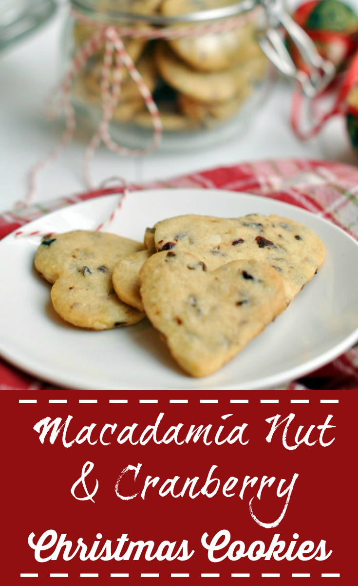 Delicious and crispy Histamine Friendly Macadamia Nut and Cranberry Christmas Cookies - Pin Me :)