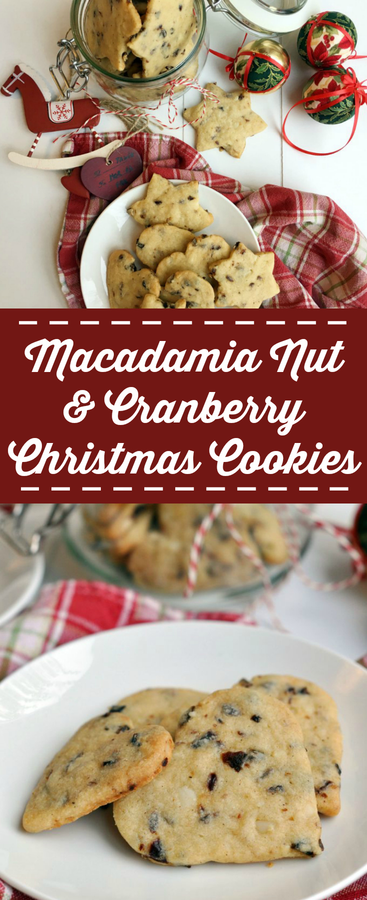 Delicious and crispy Histamine Friendly Macadamia Nut and Cranberry Christmas Cookies