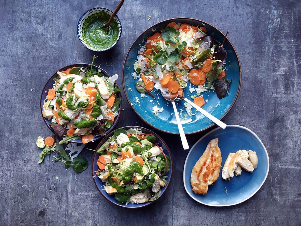 Low Histamine Brussels Sprout Chicken Pesto Salad