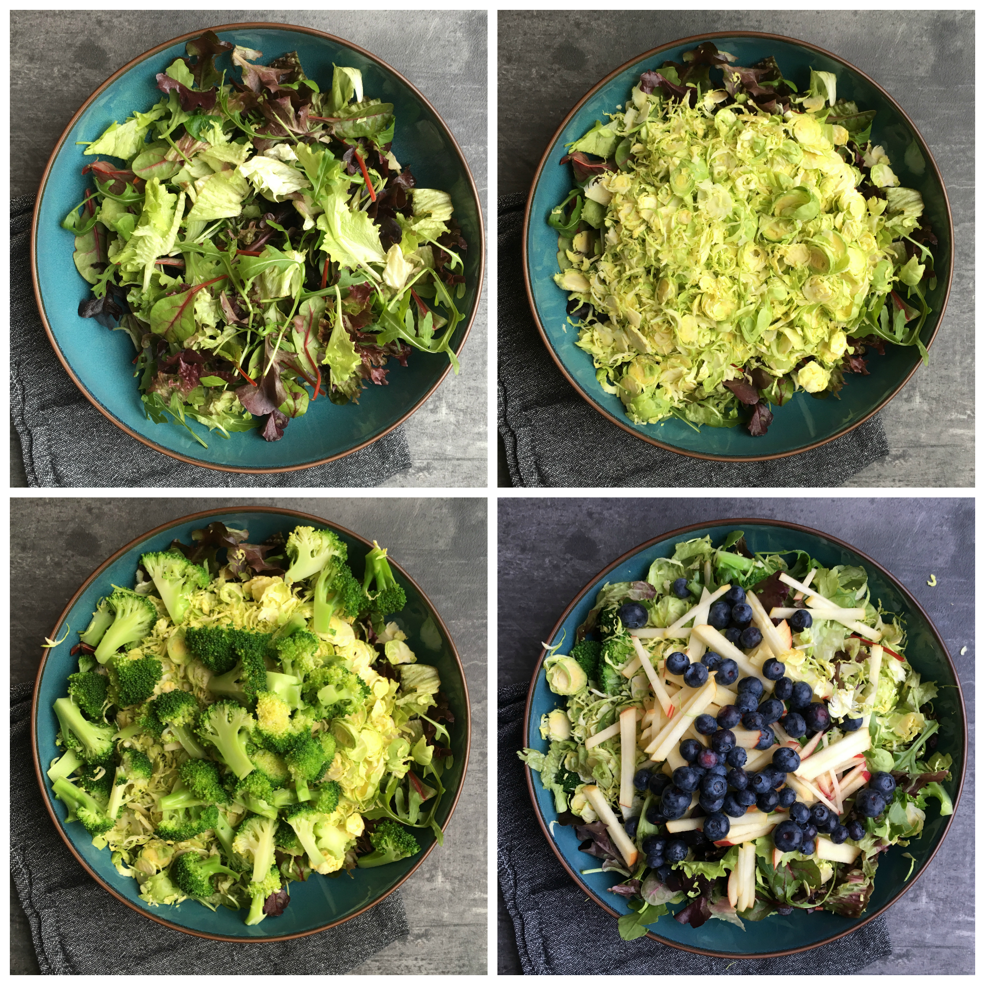 Histamine Friendly Blueberry Duck Salad with Blueberry Salad Dressing in the making