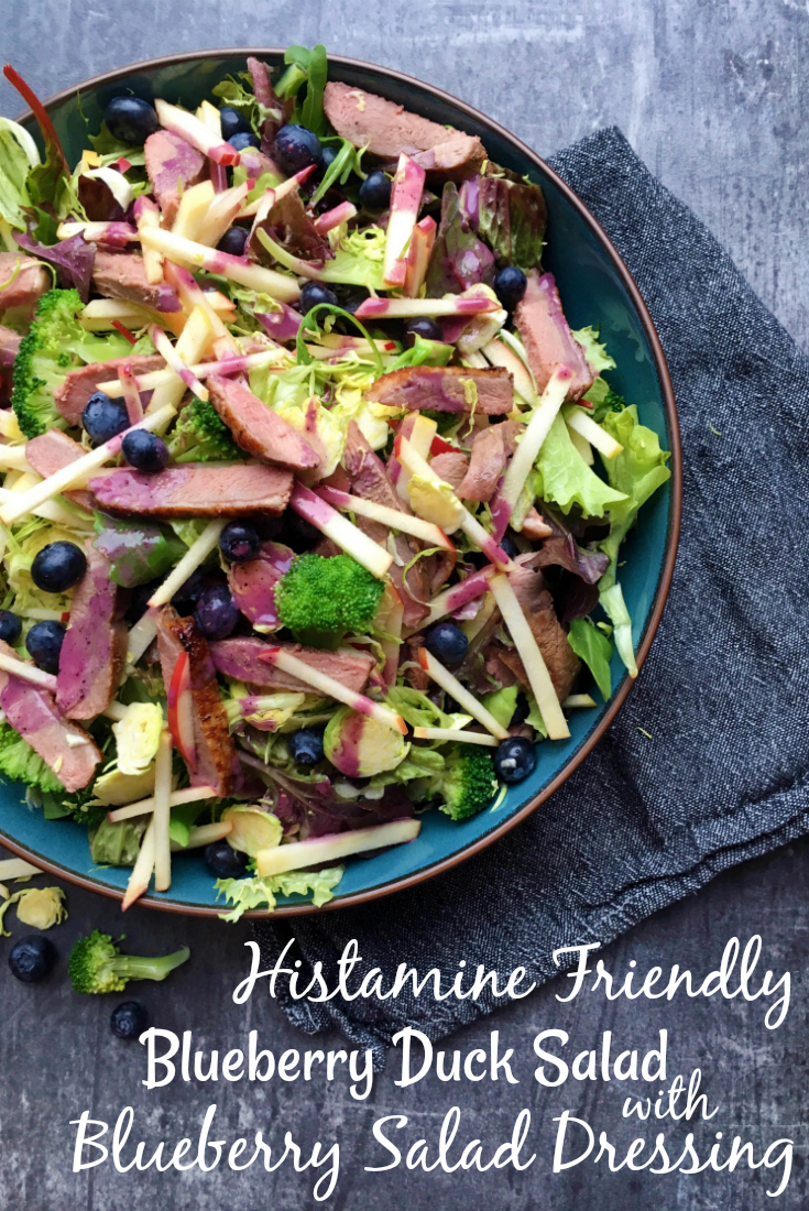 Histamine Friendly Blueberry Duck Salad with Blueberry Salad Dressing - Pin Me!