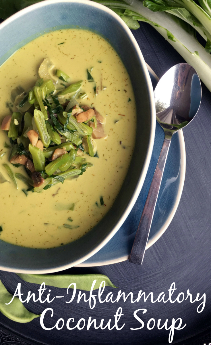 Anti-Inflammatory Coconut Soup with bok choy, flat beans and mushrooms. Pin Me!