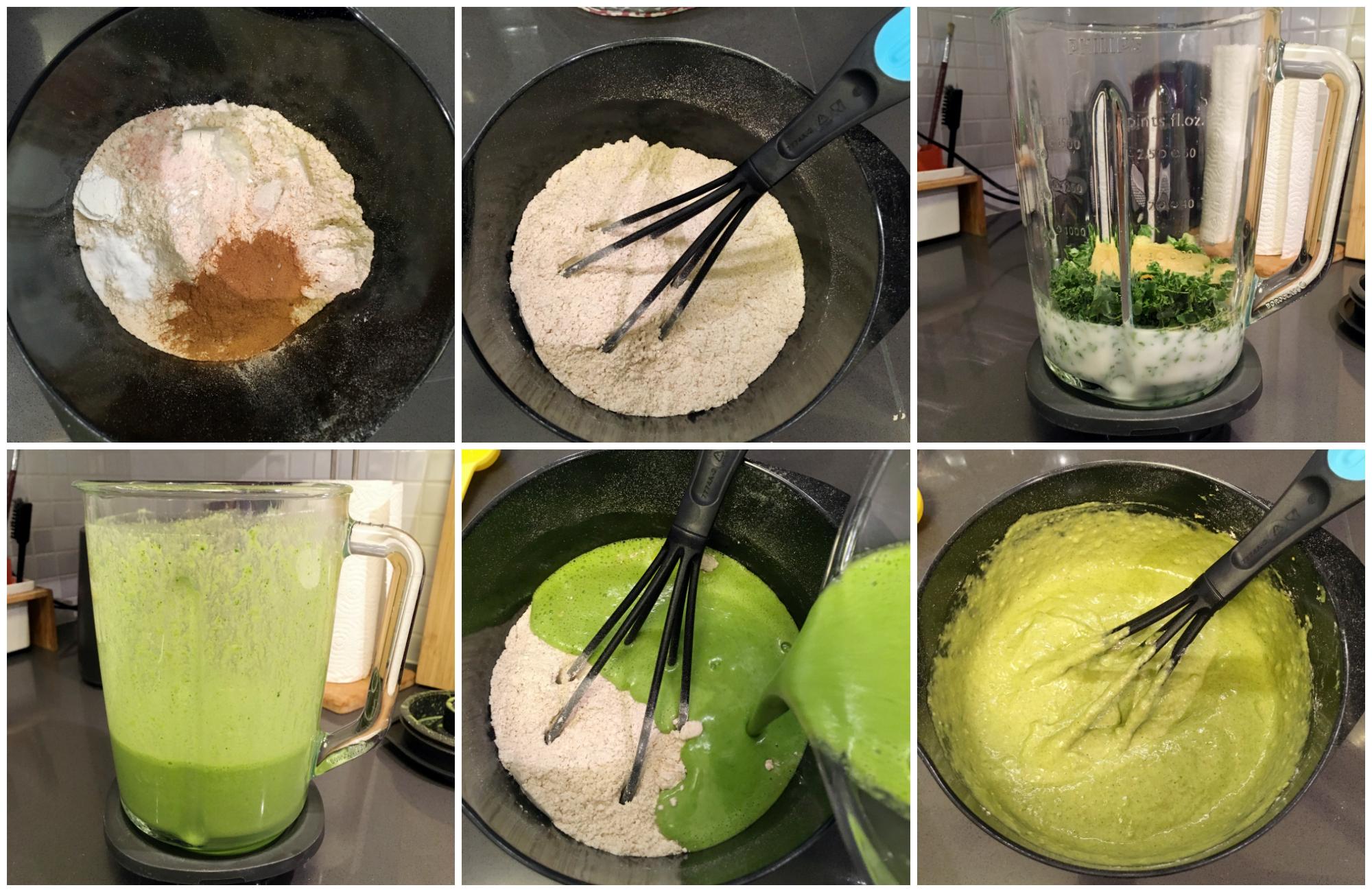 Fluffy Vegan Green Monster Kale Pancakes in the making