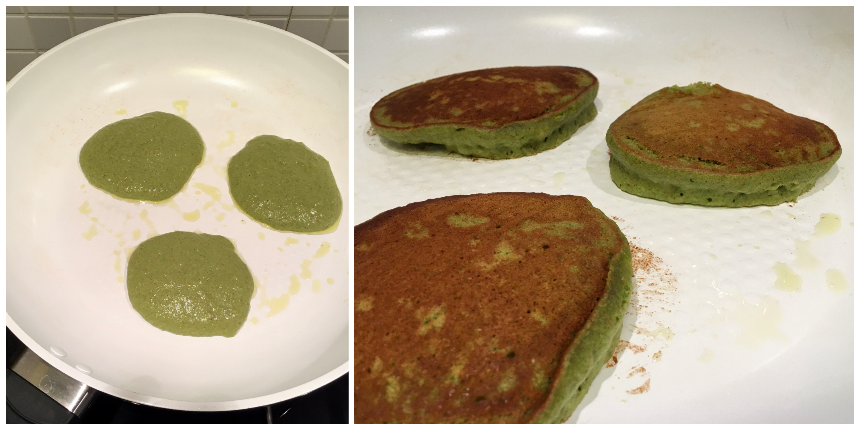 Fluffy Vegan Green Monster Kale Pancakes in the making