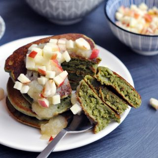 Fluffy Vegan Green Monster Kale Pancakes