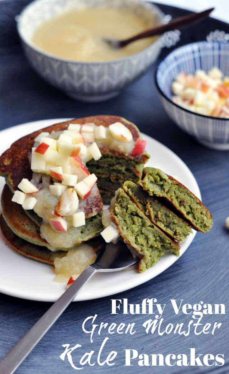 Fluffy Vegan Green Monster Kale Pancakes. Pin Me!