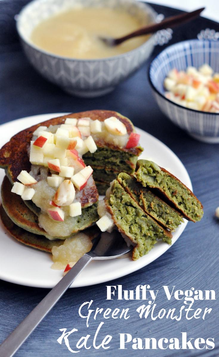 Fluffy Vegan Green Monster Kale Pancakes. Pin Me!
