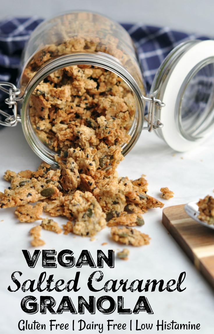 Vegan Salted Caramel Granola - gluten free! Pin Me :D