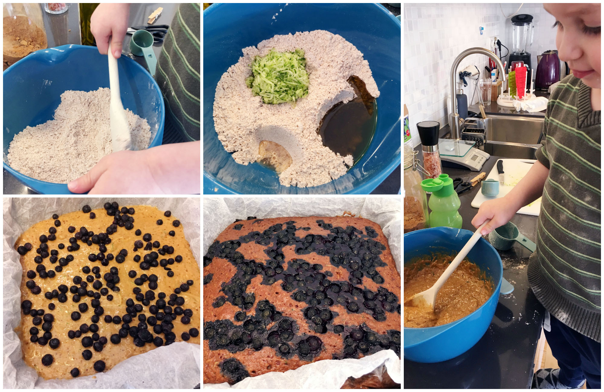 Histamine Friendly Vegan Blueberry Zucchini Cake - step for step