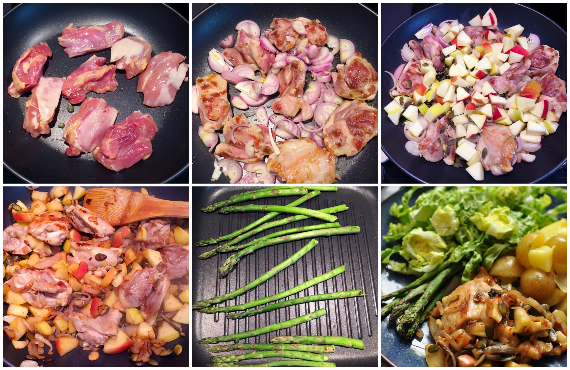 Low Histamine Simple Apple Chicken Dinner - in the making