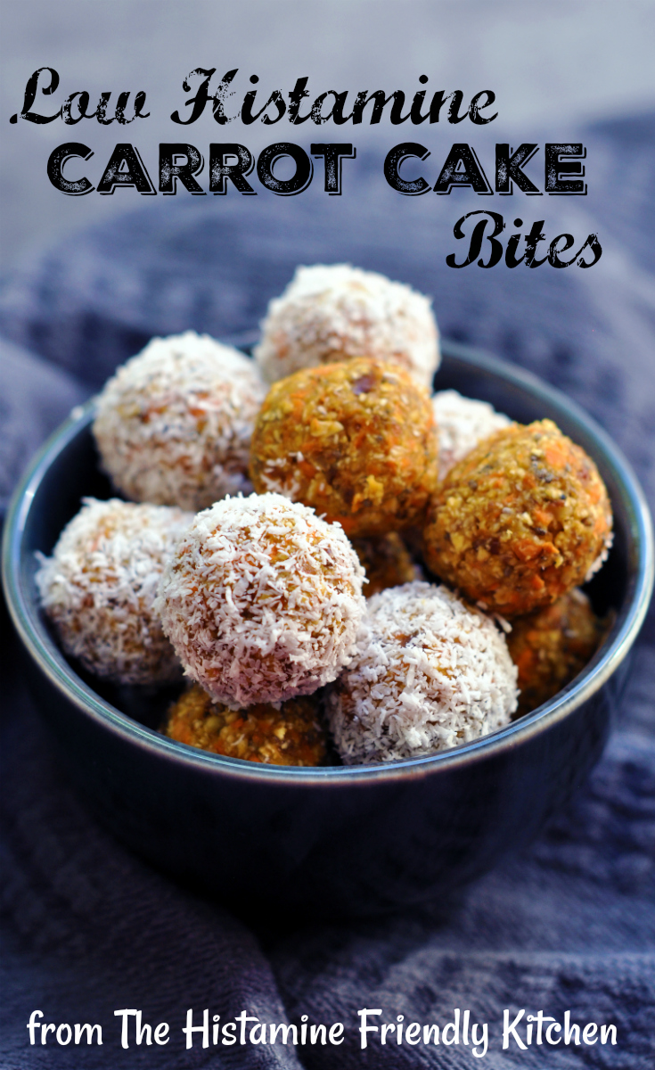 Low Histamine Carrot Cake Bites - from the Histamine Friendly Kitchen