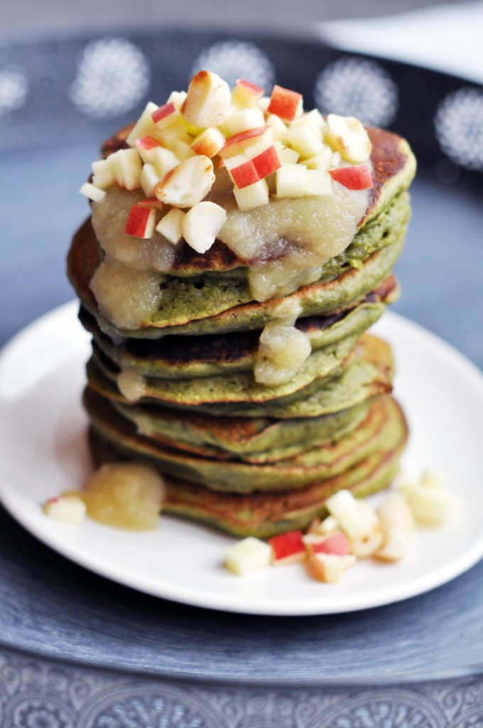 Fluffy Vegan Green Monster Kale Pancakes