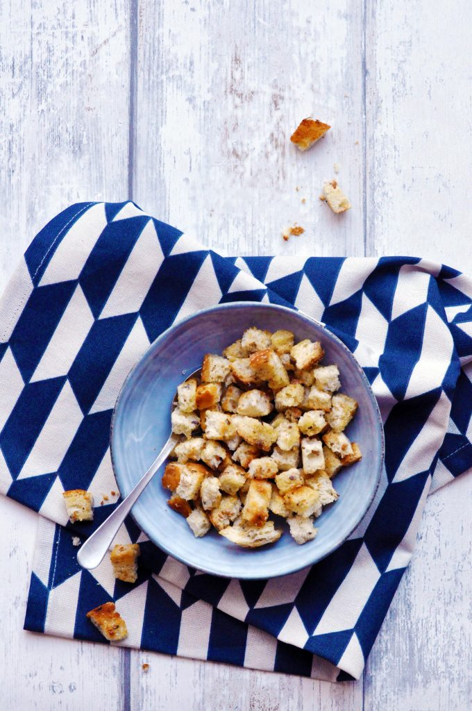The Best Ever Pan Roasted Croutons - made with goat ghee